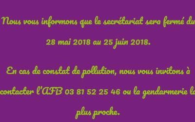 Fermeture secrétariat – Juin