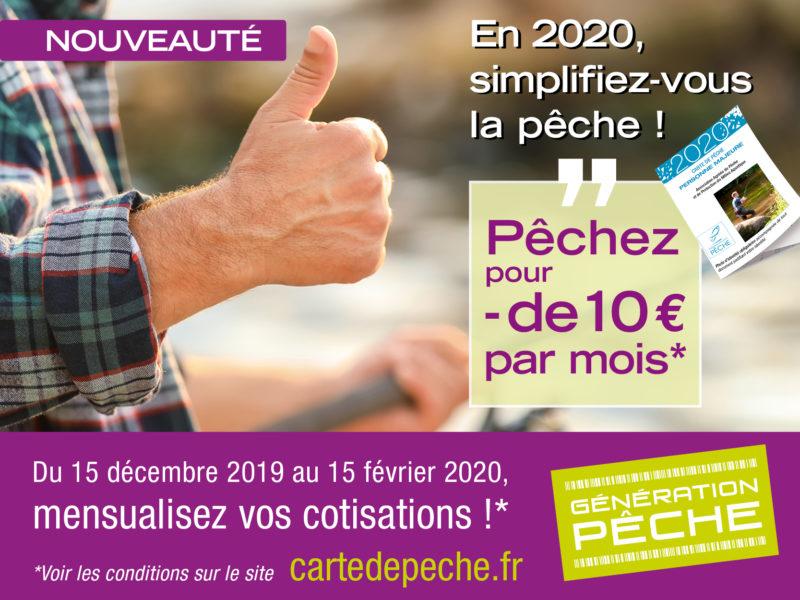 En 2020, Mensualisez le paiement de votre carte de pêche !