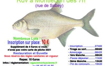 Concours de pêche au coup le 22 Mai à Montlebon